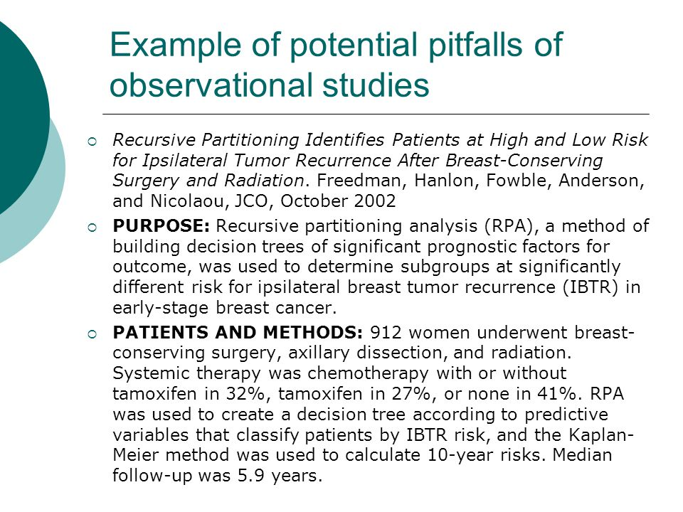 Example of potential pitfalls of observational studies  Recursive Partitioning Identifies Patients at High and Low Risk for Ipsilateral Tumor Recurrence After Breast-Conserving Surgery and Radiation.