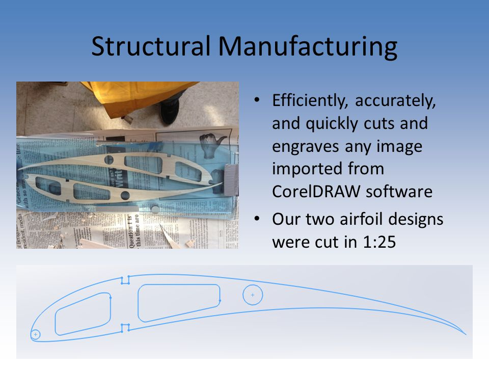 Structural Manufacturing Efficiently, accurately, and quickly cuts and engraves any image imported from CorelDRAW software Our two airfoil designs were cut in 1:25