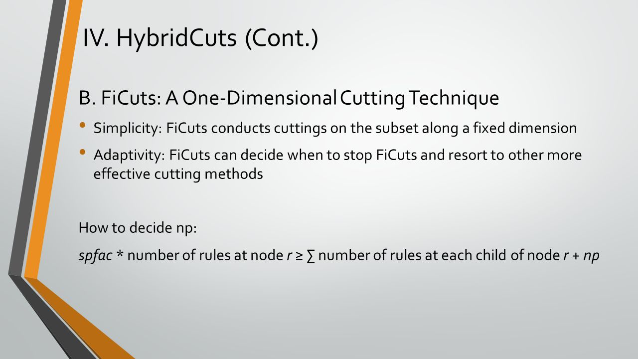 B. FiCuts: A One-Dimensional Cutting Technique Simplicity: FiCuts conducts cuttings on the subset along a fixed dimension Adaptivity: FiCuts can decid