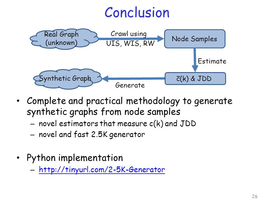 Conclusion Complete and practical methodology to generate synthetic graphs from node samples – novel estimators that measure c(k) and JDD – novel and fast 2.5K generator Python implementation – http://tinyurl.com/2-5K-Generator http://tinyurl.com/2-5K-Generator 26 Node Samples Synthetic Graph Real Graph (unknown) Crawl using UIS, WIS, RW c(k) & JDD Estimate Generate