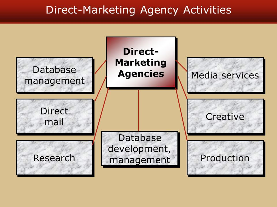 Direct-Marketing Agency Departments in a typical direct- marketing agency –Account management –Creative –Media –Database development and management