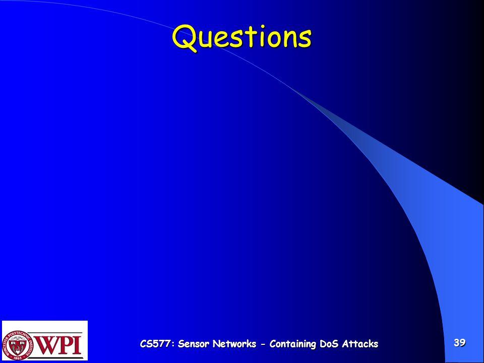 CS577: Sensor Networks - Containing DoS Attacks 39 Questions
