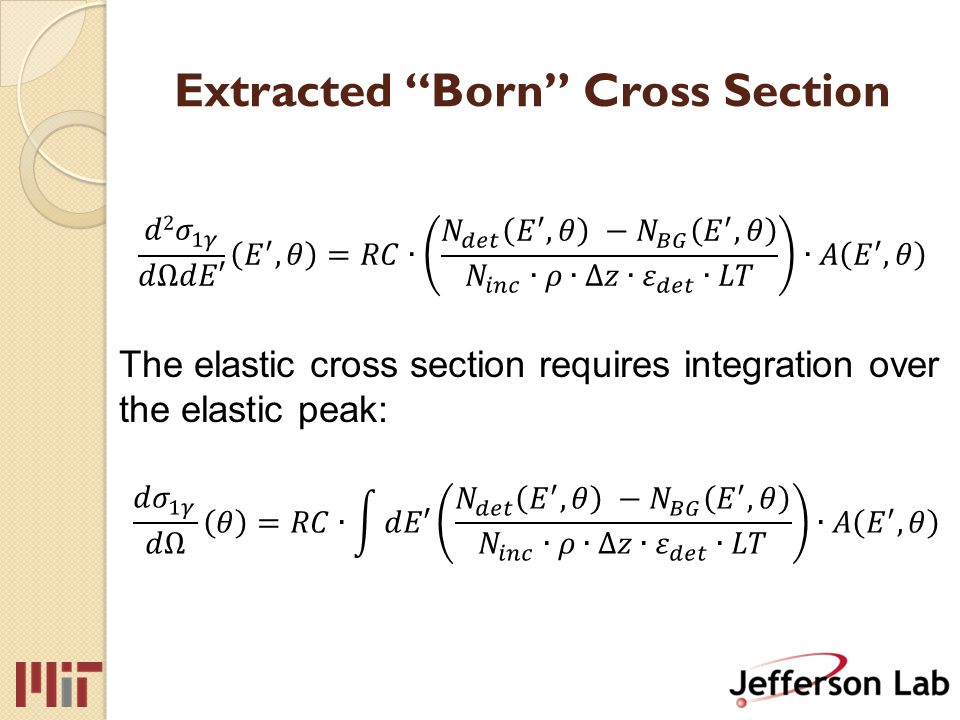 Extracted Born Cross Section The elastic cross section requires integration over the elastic peak: