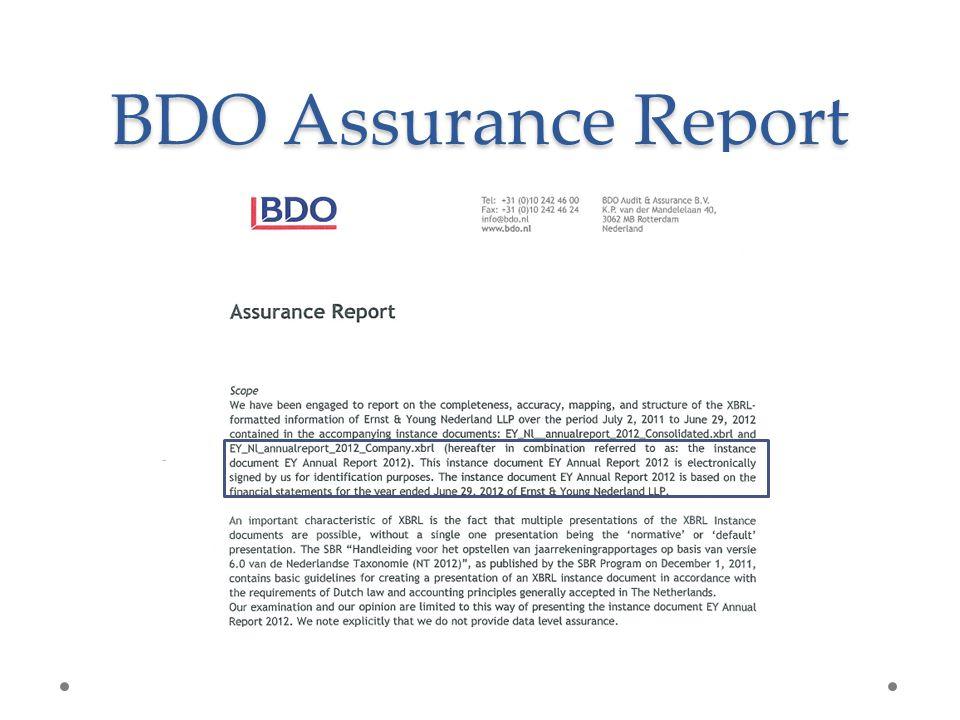 BDO Assurance Report