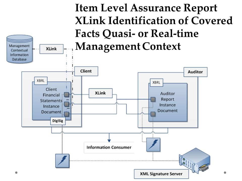 Item Level Assurance Report XLink Identification of Covered Facts Quasi- or Real-time Management Context