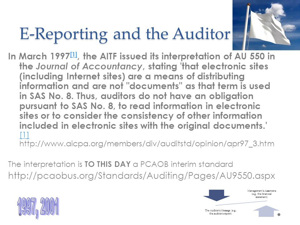E-Reporting and the Auditor In March 1997 [1], the AITF issued its interpretation of AU 550 in the Journal of Accountancy, stating that electronic sites (including Internet sites) are a means of distributing information and are not documents as that term is used in SAS No.