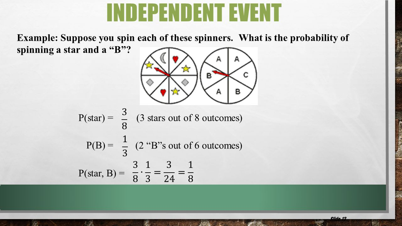 "Example: Suppose you spin each of these spinners. What is the probability of spinning a star and a ""B""? P(star) = (3 stars out of 8 outcomes) (2 ""B""s"