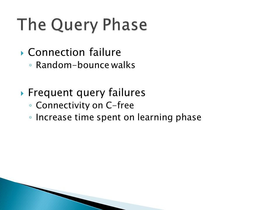  Connection failure ◦ Random-bounce walks  Frequent query failures ◦ Connectivity on C-free ◦ Increase time spent on learning phase