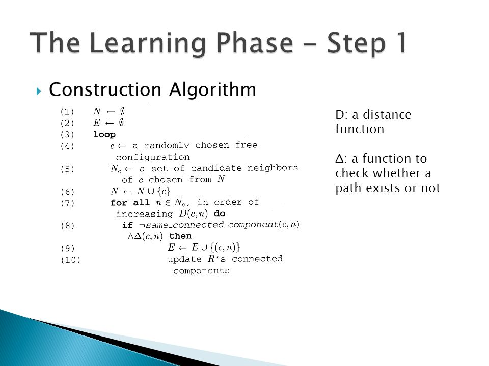  Construction Algorithm D: a distance function Δ: a function to check whether a path exists or not