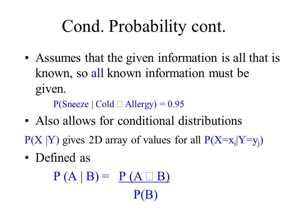 Cond. Probability cont.