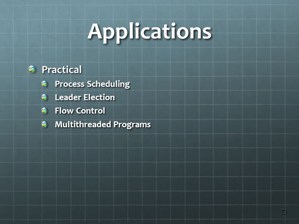 Applications Practical Process Scheduling Leader Election Flow Control Multithreaded Programs ☐ ☐