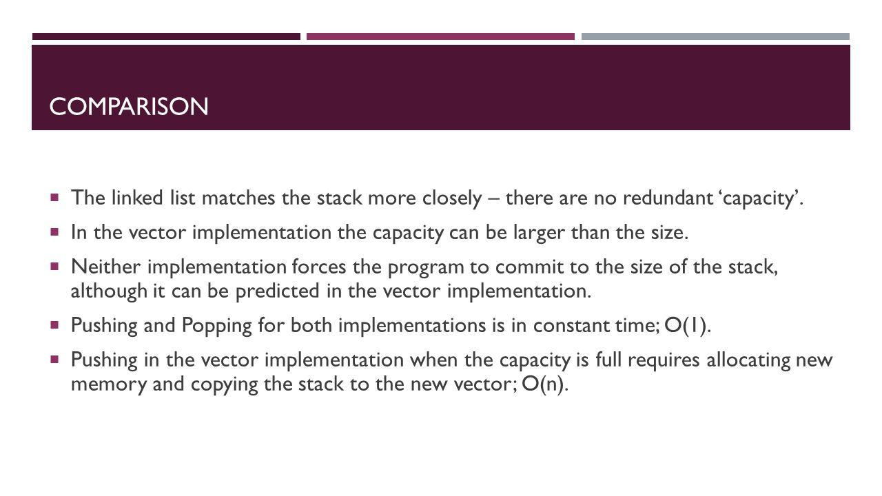 COMPARISON  The linked list matches the stack more closely – there are no redundant 'capacity'.