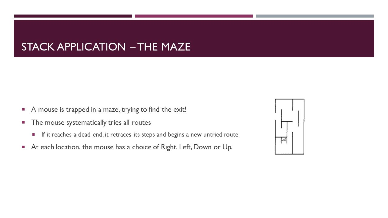 STACK APPLICATION – THE MAZE  A mouse is trapped in a maze, trying to find the exit.
