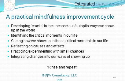 Integrated Life Path Coaching from Aspiration to Actualization A practical mindfulness improvement cycle Developing 'cracks' in the unconscious/autopilot ways we show up in the world Identifying the critical moments in our life Seeing how we show up in those critical moments in our life Reflecting on causes and effects Practicing/experimenting with small changes Integrating changes into our ways of showing up Rinse and repeat ©DJW Consultancy, LLC 2011 10