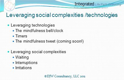 Integrated Life Path Coaching from Aspiration to Actualization Leveraging social complexities /technologies Leveraging technologies The mindfulness bell/clock Timers The mindfulness tweet (coming soon!) Leveraging social complexities Waiting Interruptions Irritations ©DJW Consultancy, LLC 2011