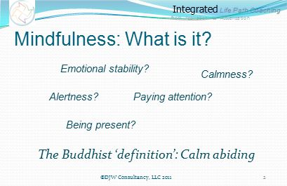 Integrated Life Path Coaching from Aspiration to Actualization Consider this --  Its not a matter of whether you can be mindful or not ---- just for how long and how often ©DJW Consultancy, LLC 2011 3
