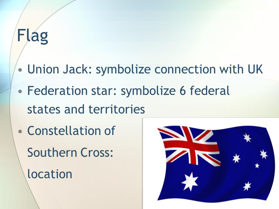 Flag Union Jack: symbolize connection with UK Federation star: symbolize 6 federal states and territories Constellation of Southern Cross: location
