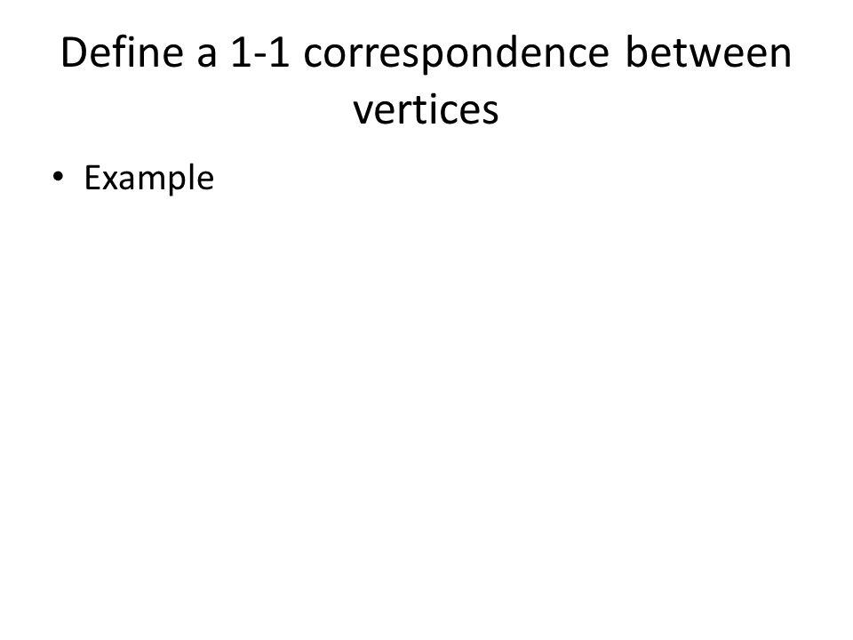 Define a 1-1 correspondence between vertices Example