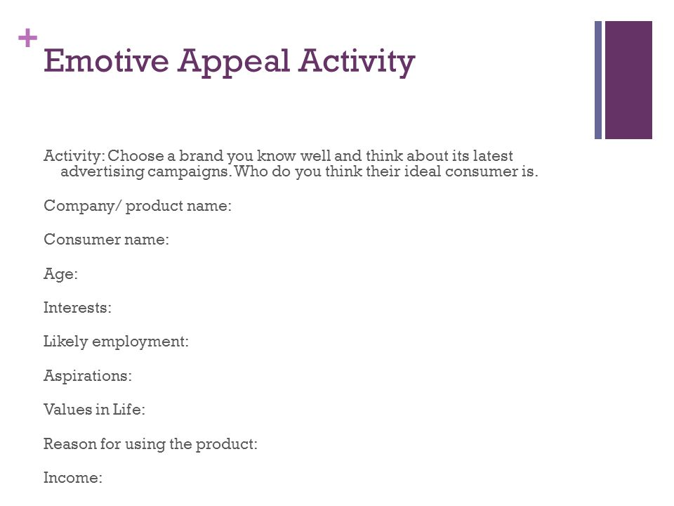 + Emotive Appeal Activity Activity: Choose a brand you know well and think about its latest advertising campaigns.