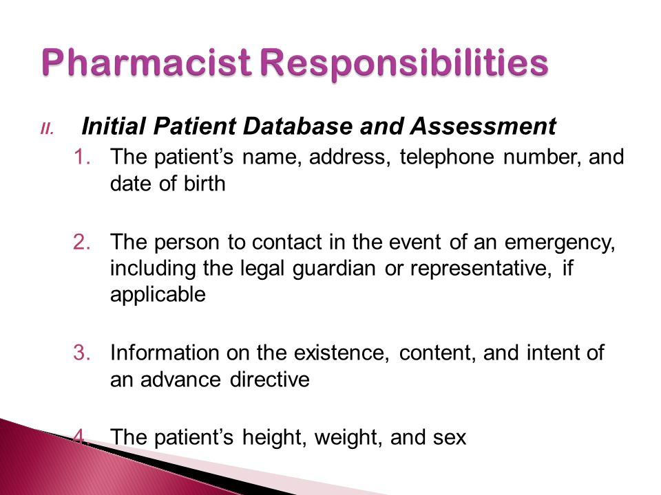 II. Initial Patient Database and Assessment 1.The patient's name, address, telephone number, and date of birth 2.The person to contact in the event of