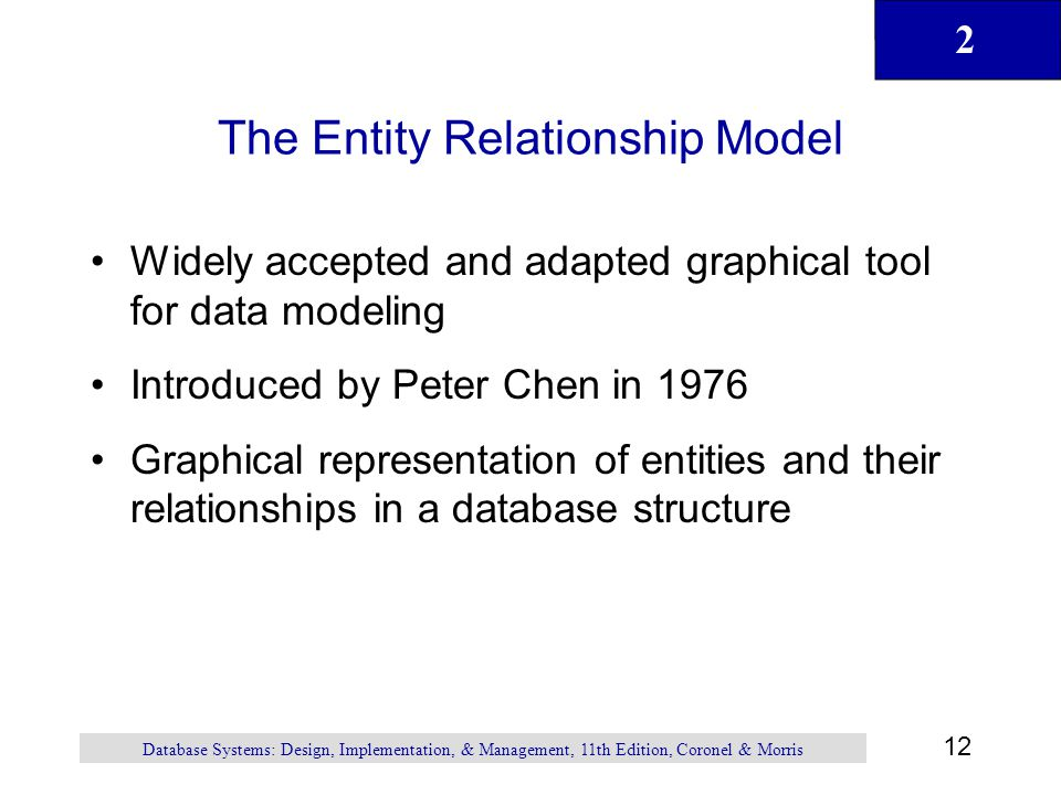 2 12 Database Systems: Design, Implementation, & Management, 11th Edition, Coronel & Morris The Entity Relationship Model Widely accepted and adapted