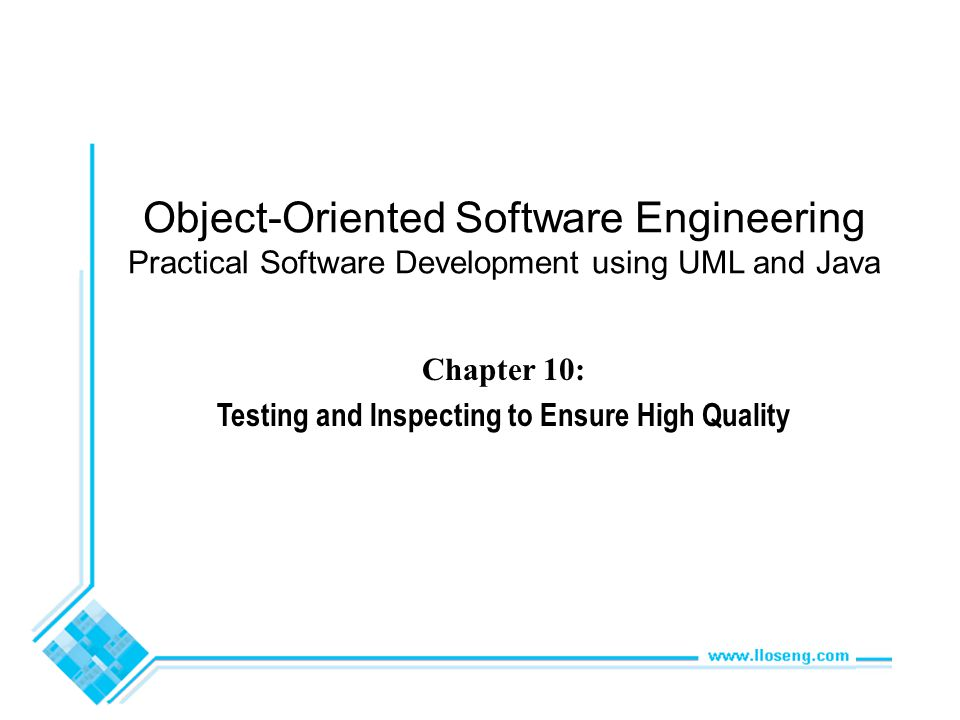 © Lethbridge/Laganière 2005 Chapter 10: Testing and Inspecting for High Quality82 Test cases for Phase 2 of the SimpleChat Test Case 2003 System: SimpleChatPhase: 2 Client startup check with a login and without a server Severity: 1 Instructions: 1.