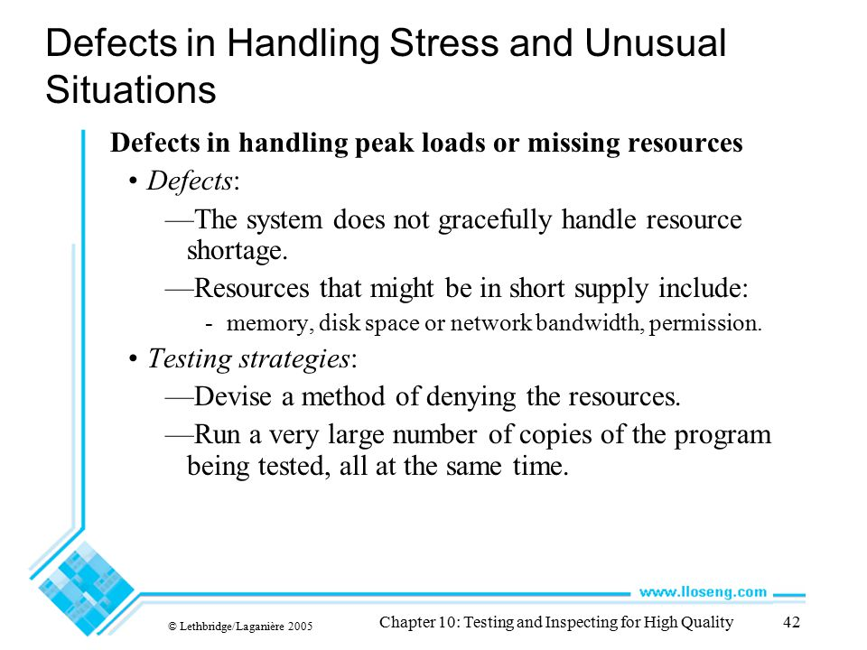 © Lethbridge/Laganière 2005 Chapter 10: Testing and Inspecting for High Quality42 Defects in Handling Stress and Unusual Situations Defects in handlin
