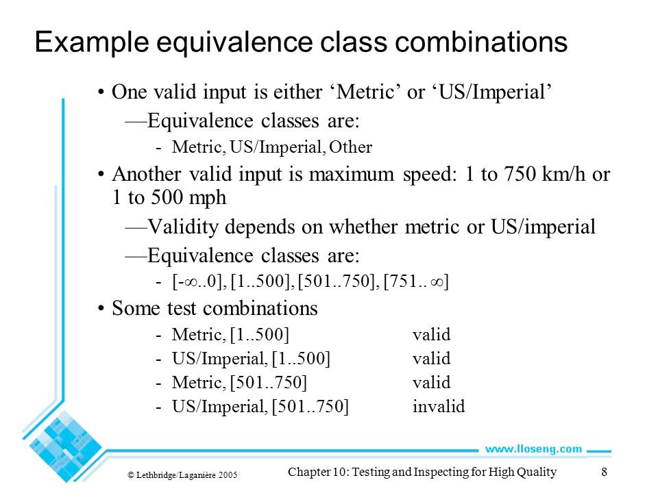 © Lethbridge/Laganière 2005 Chapter 10: Testing and Inspecting for High Quality69 Principles of inspecting Avoid discussing how to fix defects —Fixing defects can be left to the author Avoid discussing style issues —Issues like style are important, but should be discussed separately Do not rush the inspection process —A good speed to inspect is -200 lines of code per hour (including comments) -or ten pages of text per hour