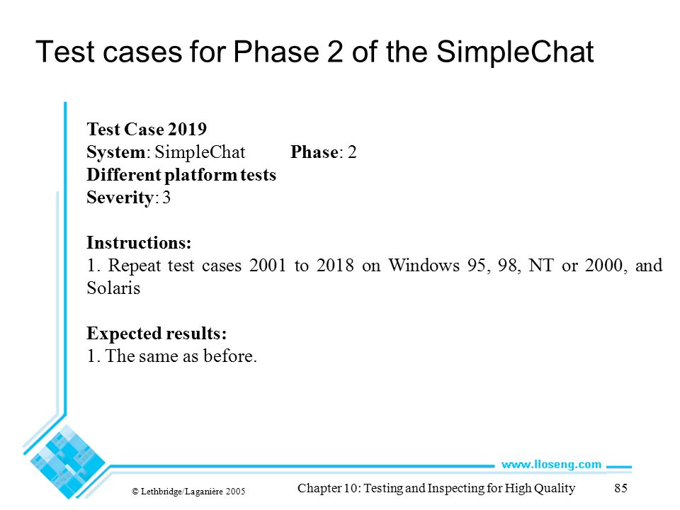 © Lethbridge/Laganière 2005 Chapter 10: Testing and Inspecting for High Quality85 Test cases for Phase 2 of the SimpleChat Test Case 2019 System: Simp