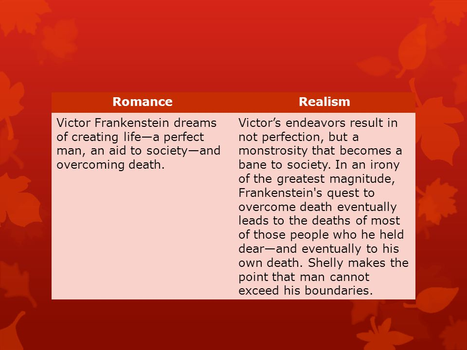 RomanceRealism Victor Frankenstein dreams of creating life—a perfect man, an aid to society—and overcoming death. Victor's endeavors result in not per