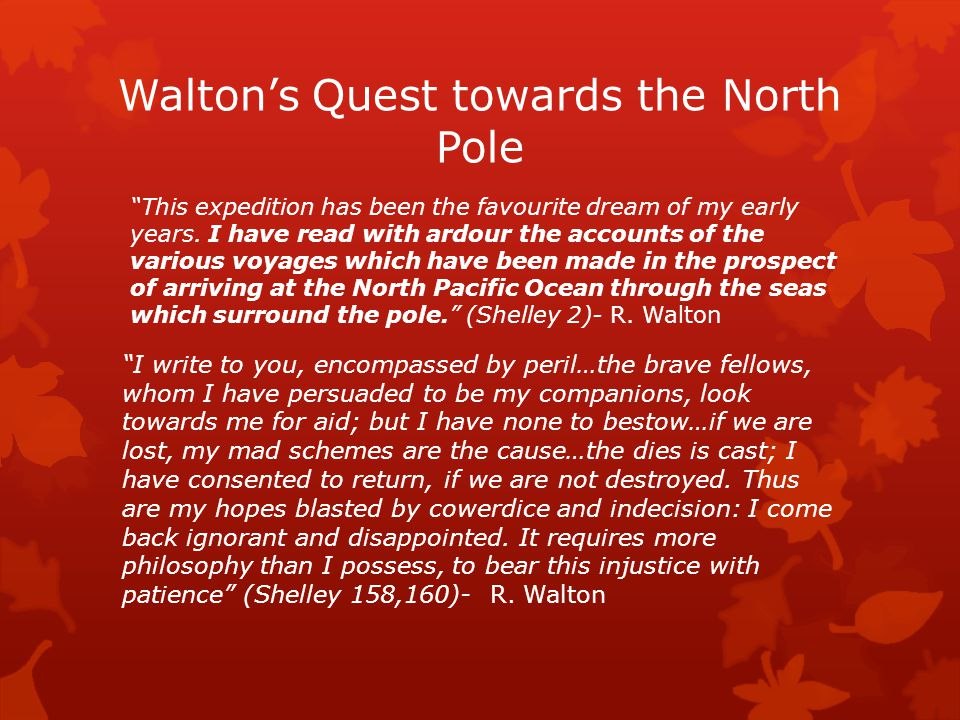 "Walton's Quest towards the North Pole ""This expedition has been the favourite dream of my early years. I have read with ardour the accounts of the var"