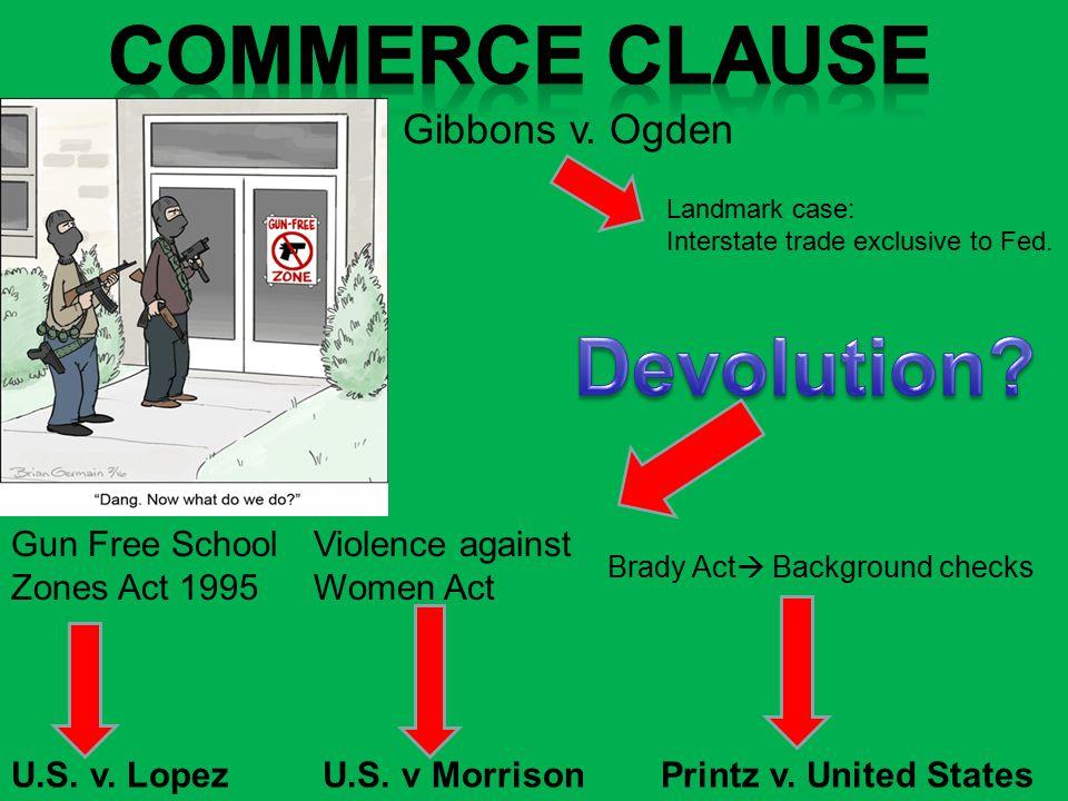 U.S. v. Lopez Gibbons v. Ogden Gun Free School Zones Act 1995 U.S.