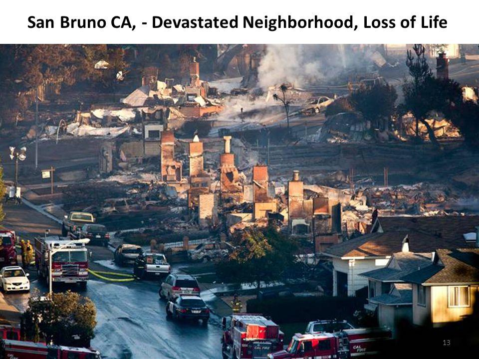San Bruno CA, - Devastated Neighborhood, Loss of Life 13