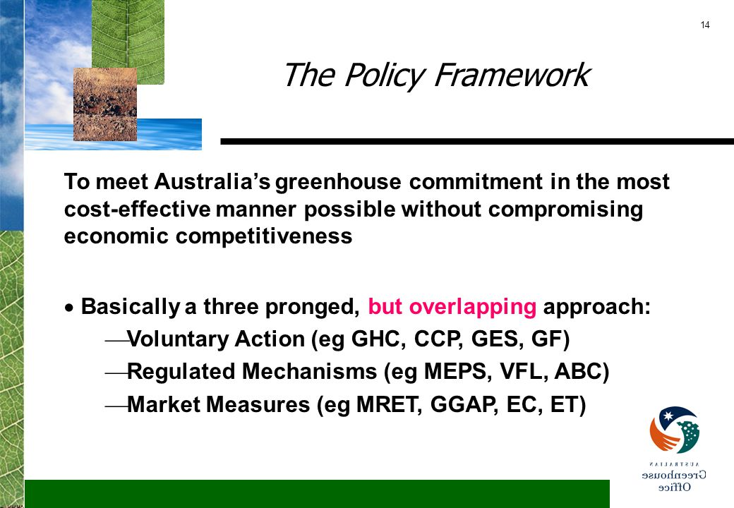 14 The Policy Framework To meet Australia's greenhouse commitment in the most cost-effective manner possible without compromising economic competitiveness  Basically a three pronged, but overlapping approach:  Voluntary Action (eg GHC, CCP, GES, GF)  Regulated Mechanisms (eg MEPS, VFL, ABC)  Market Measures (eg MRET, GGAP, EC, ET)