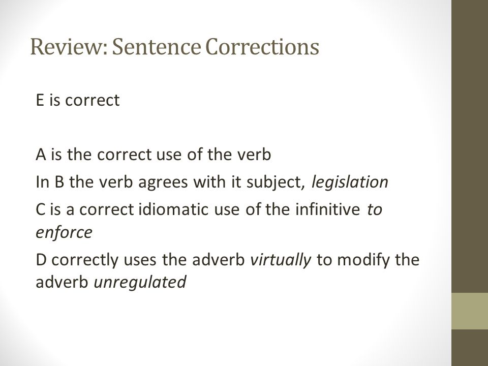 Review: Sentence Corrections 2.