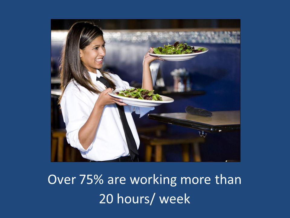 Over 75% are working more than 20 hours/week Over 75% are working more than 20 hours/ week