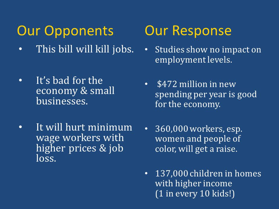 Our Response Our Opponents This bill will kill jobs.