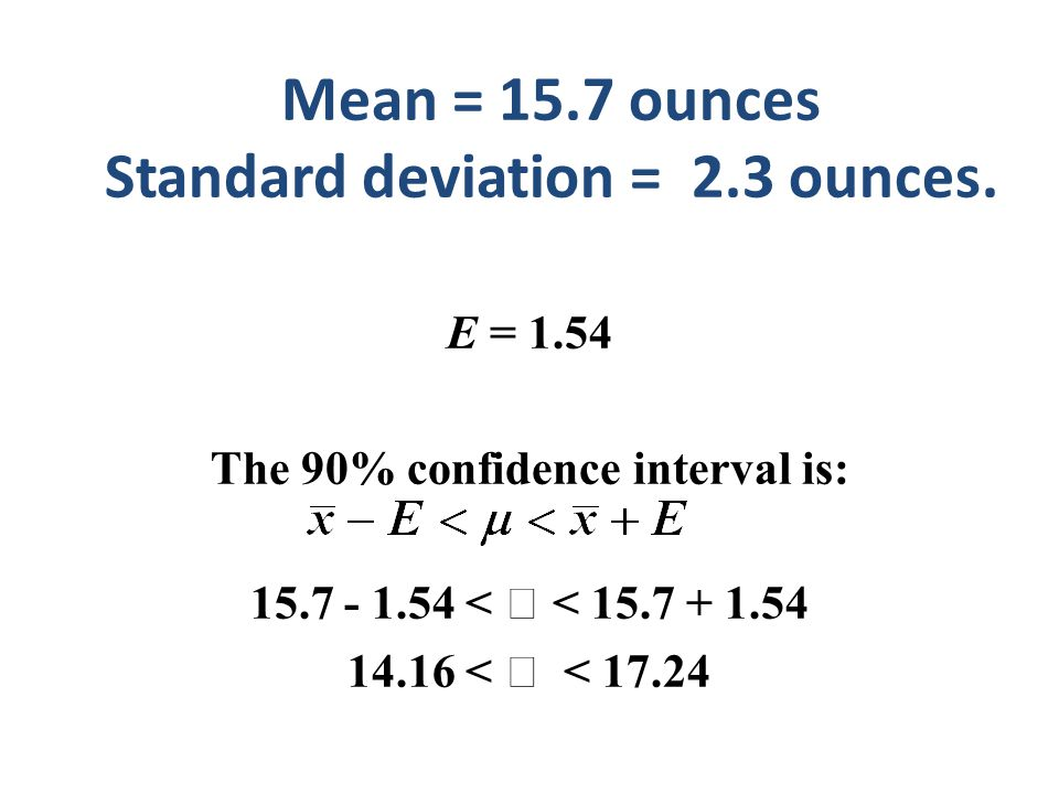 Mean = 15.7 ounces Standard deviation = 2.3 ounces.