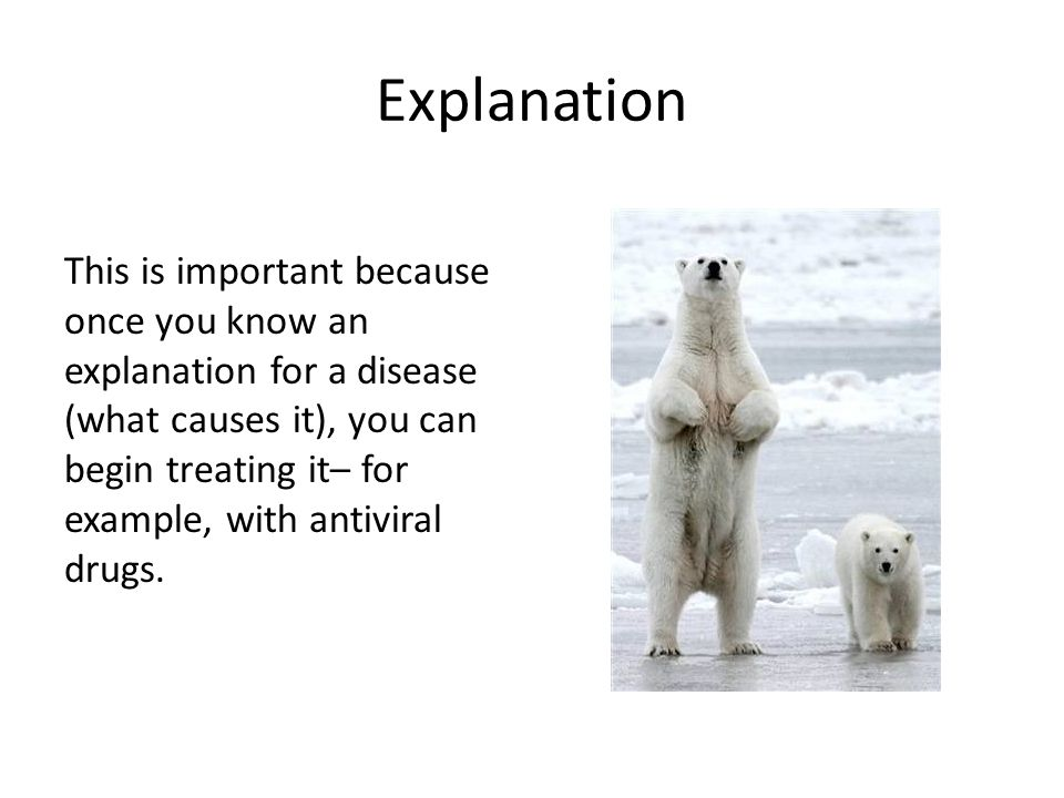Explanation This is important because once you know an explanation for a disease (what causes it), you can begin treating it– for example, with antivi