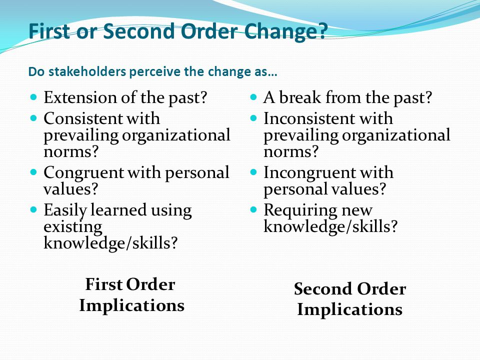 First or Second Order Change? Do stakeholders perceive the change as… Extension of the past? Consistent with prevailing organizational norms? Congruen