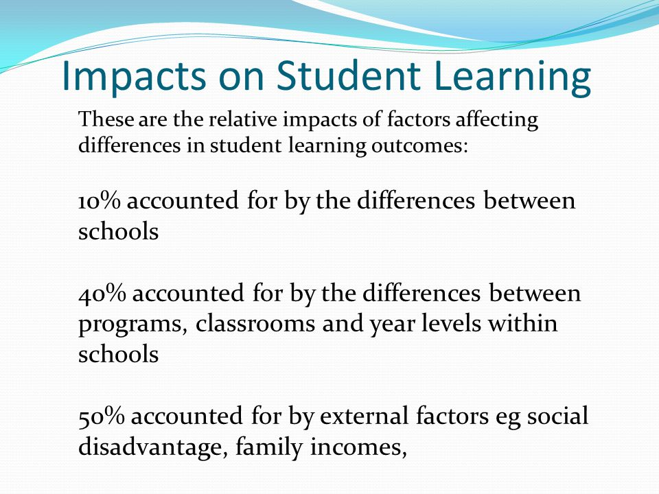Impacts on Student Learning These are the relative impacts of factors affecting differences in student learning outcomes: 10% accounted for by the dif