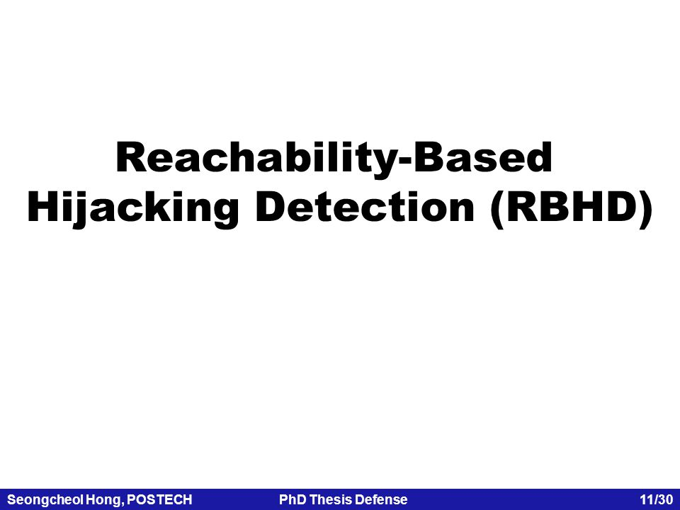 Seongcheol Hong, POSTECHPhD Thesis Defense 11/30 Reachability-Based Hijacking Detection (RBHD)