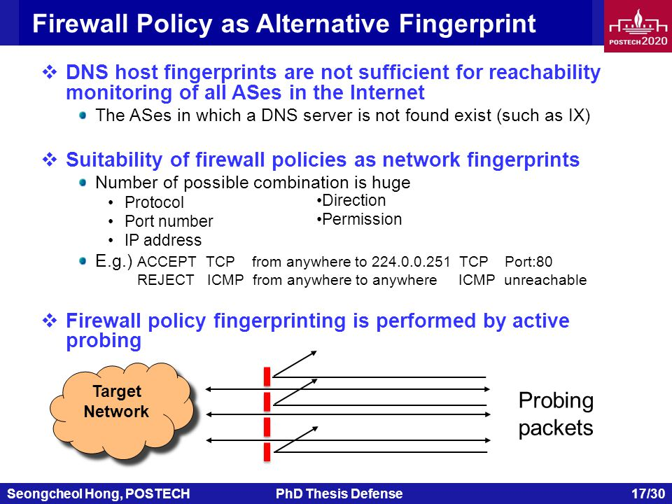 Seongcheol Hong, POSTECHPhD Thesis Defense 17/30 Firewall Policy as Alternative Fingerprint  DNS host fingerprints are not sufficient for reachability monitoring of all ASes in the Internet The ASes in which a DNS server is not found exist (such as IX)  Suitability of firewall policies as network fingerprints Number of possible combination is huge Protocol Port number IP address E.g.) ACCEPT TCP from anywhere to 224.0.0.251 TCP Port:80 REJECT ICMP from anywhere to anywhere ICMP unreachable  Firewall policy fingerprinting is performed by active probing Target Network Target Network Direction Permission Probing packets