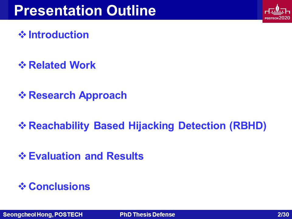 Seongcheol Hong, POSTECHPhD Thesis Defense 2/30 Presentation Outline  Introduction  Related Work  Research Approach  Reachability Based Hijacking Detection (RBHD)  Evaluation and Results  Conclusions