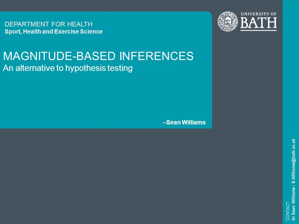22 Magnitude-based inferences CONTACT Dr Sean Williams   S.Williams@bath.ac.uk Smallest worthwhile difference.
