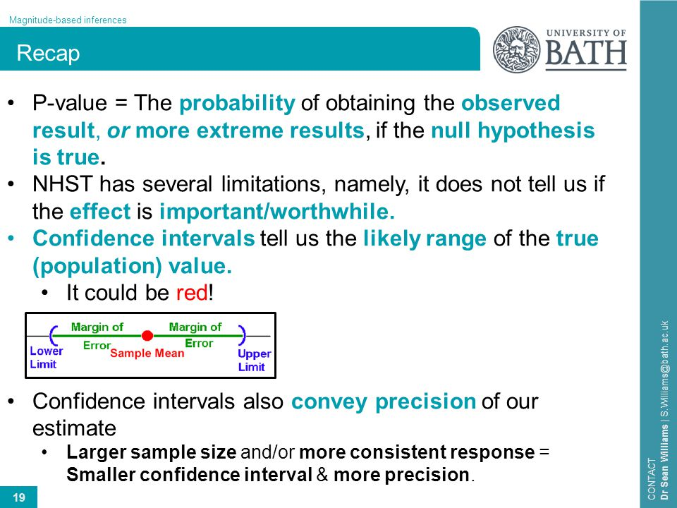 19 Magnitude-based inferences CONTACT Dr Sean Williams | S.Williams@bath.ac.uk Recap P-value = The probability of obtaining the observed result, or mo