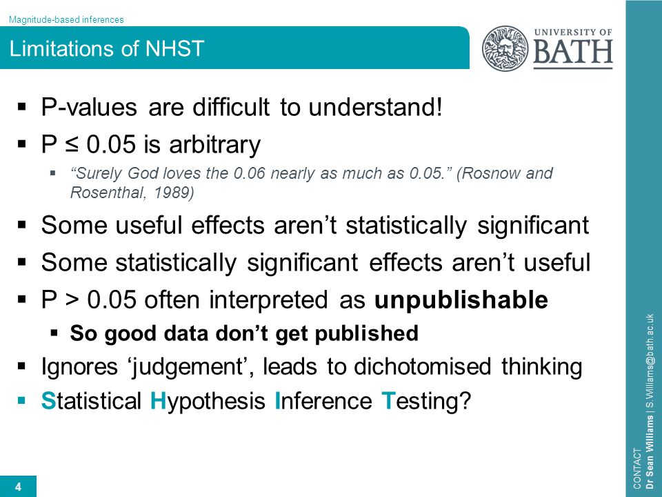 4 Magnitude-based inferences CONTACT Dr Sean Williams | S.Williams@bath.ac.uk Limitations of NHST  P-values are difficult to understand!  P ≤ 0.05 i