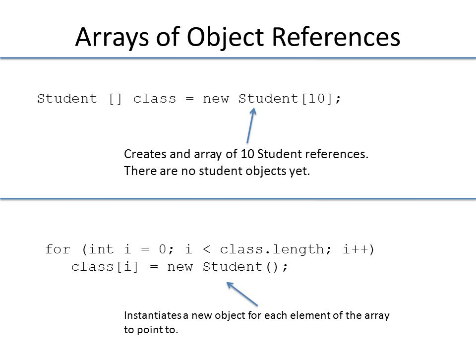Arrays of Object References Student [] class = new Student[10]; Creates and array of 10 Student references.