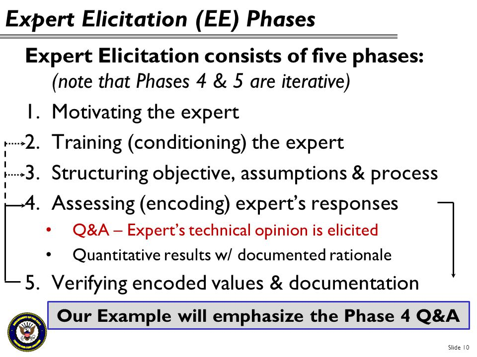 Expert Elicitation (EE) Phases Expert Elicitation consists of five phases: (note that Phases 4 & 5 are iterative) 1.Motivating the expert 2.Training (