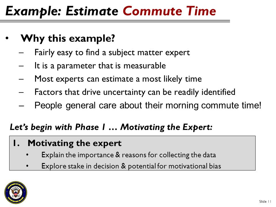 Example: Estimate Commute Time Slide 11 Why this example? –Fairly easy to find a subject matter expert –It is a parameter that is measurable –Most exp